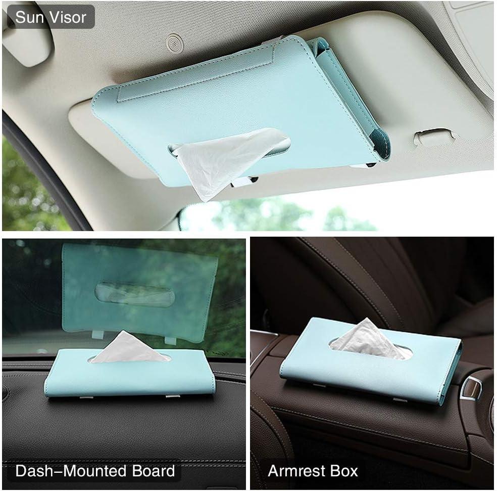 PU Leather Sun Visor Napkin Box Holder Vehicle Accessories Auto Hanging Car Mask Holder with Glasses Clip for Car Visor 3 Pack Car Tissue Holder