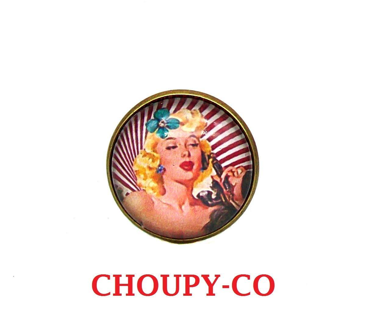 Bague ronde cabochon * Pin-Up girl * rétro vintage playmate années 50 rouge blanc bronze bague réglable en verre idée cadeau anniversaire, fêtes cadeau copines noël