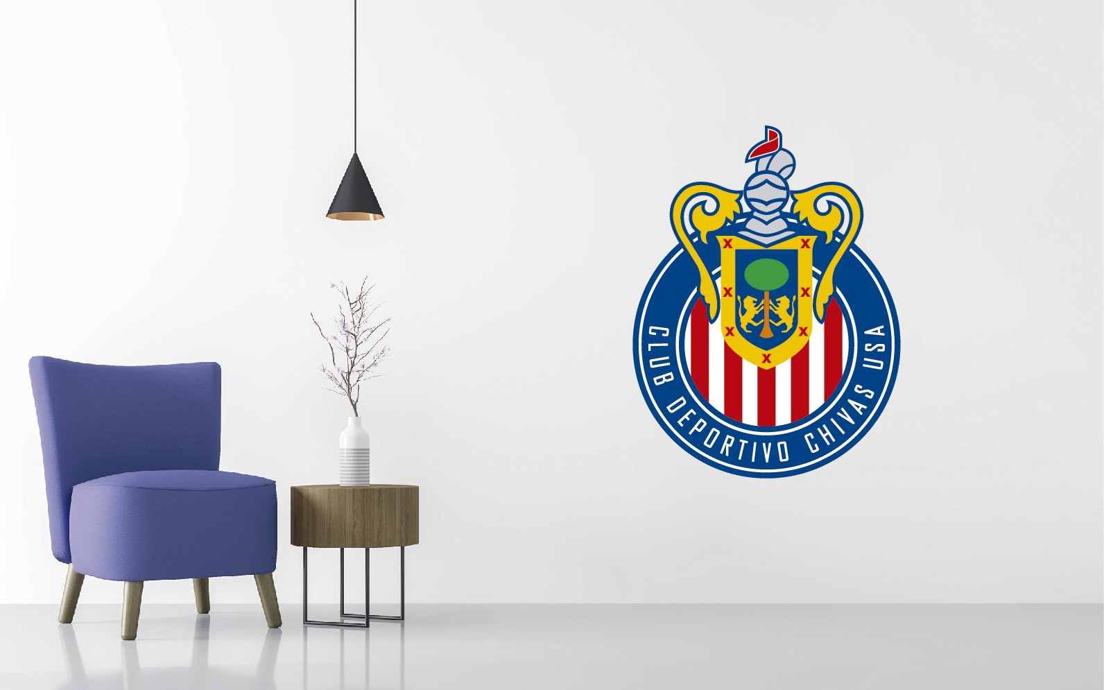 Soccer Team Logo - Wall Decal Removable & Reusable For Home Bedroom (Wide 30'' x 40'' Height)