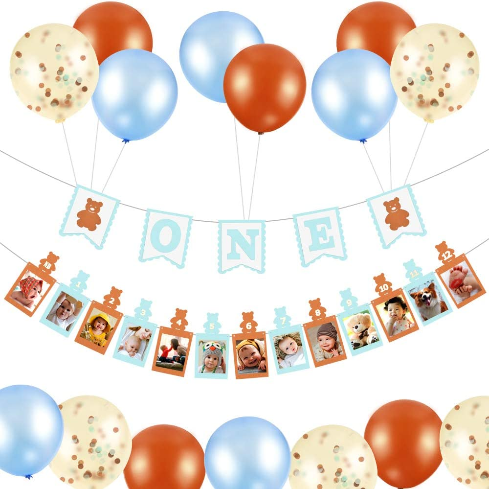 12 Month Photo Banner for First Birthday,One banner First Birthday Banner Include Confetti Balloons,Latex Balloon One Year Old Banner for Teddy Bear Baby Shower Decorations for Boy