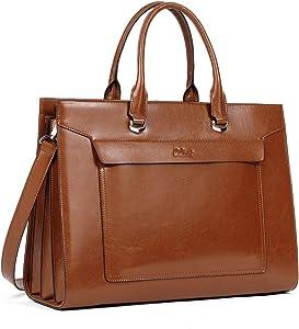 CLUCI Oil Wax Leather Briefcase for Women Vintage Laptop 15.6 Inch Slim Large Business Ladies Work Shoulder Bag Brown