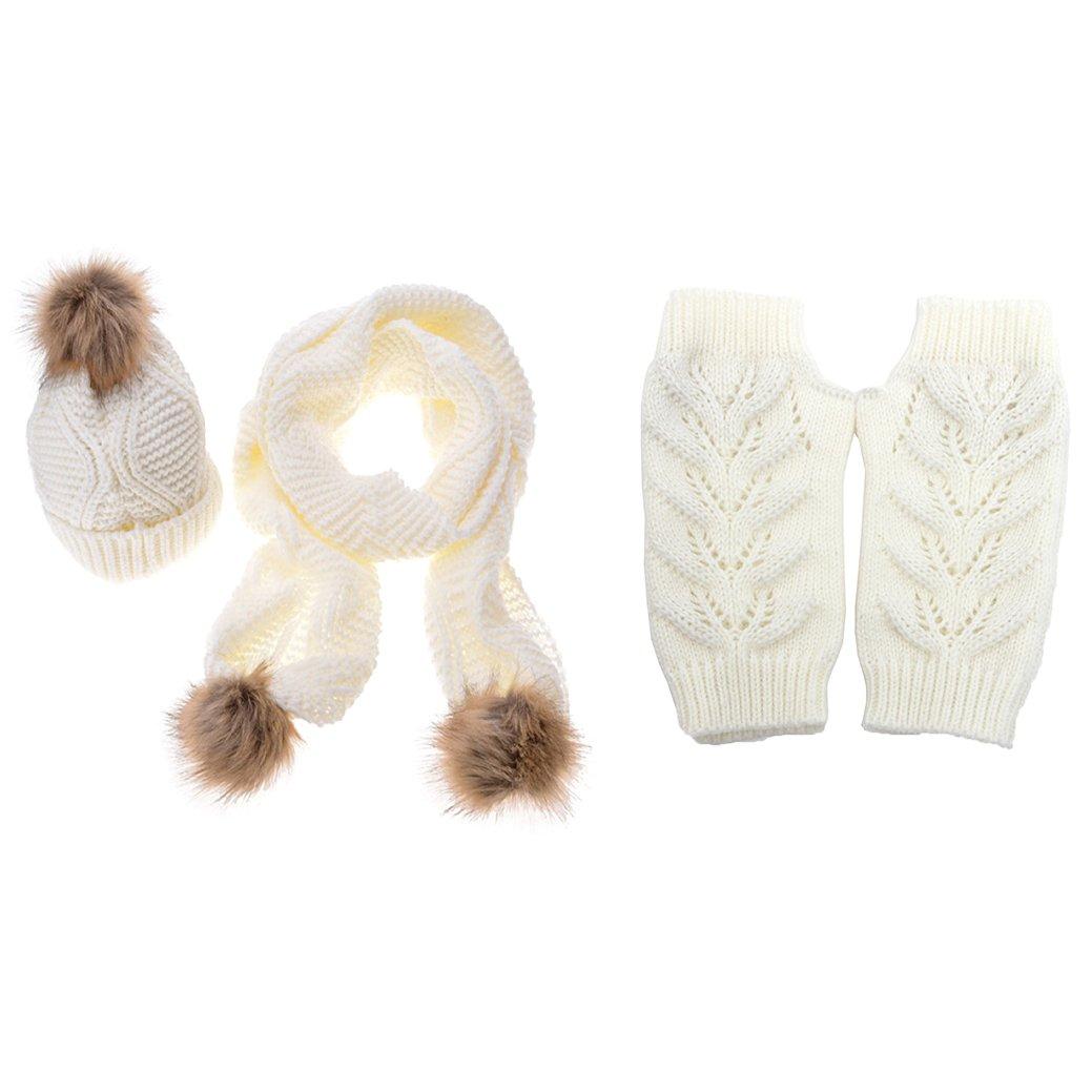 Jelinda Pompom Cable Knit Beanie Skully Warm Stretchy Hats Scarf Gloves Set