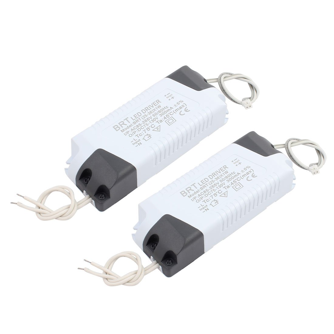 uxcell 25-36 x 1W Small Terminal Connector Advanced Plastic Shell LED Driver Power Supply 2Pcs