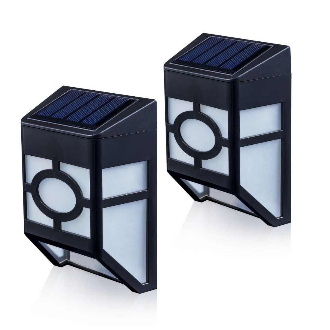 XLUX [Warm Light] S55 Solar Powered Lights for House Outdoor Landscape Garden Fence Lamp, Soft White, 2 Pack