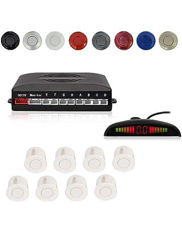 Asistente aparcamiento con 4 sensores de en negro Indicador marcha atrás Ayuda al aparcamiento PDC acústicamente