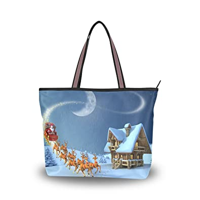 f4ad68df5050 JSTEL Women Large Tote Top Handle Shoulder Bags Christmas Night ...