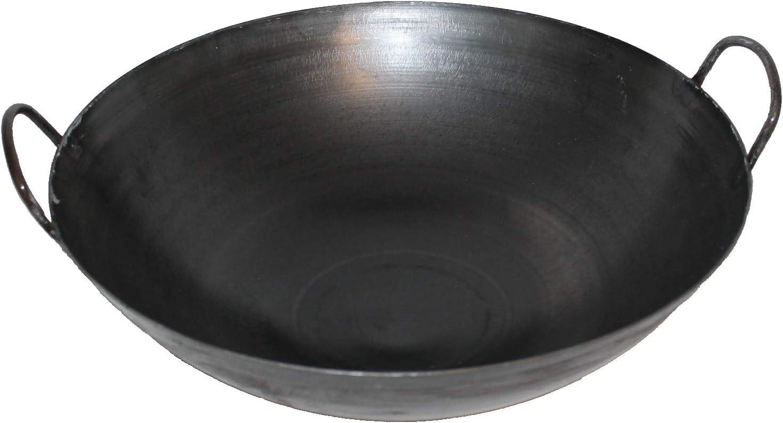 40 cm Ø runder Boden Carbon Stahl Gasherd Induktionsmulde Ho WOK SET Pfanne 30