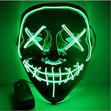 Image ofKaliwa LED Máscaras Halloween, Halloween Mascaras, Craneo Esqueleto Mascaras, para Navidad /Halloween /Cosplay /Grimace Festival /Fiesta Show /Mascarada, Alimentado por batería (no Incluido) (Verde)
