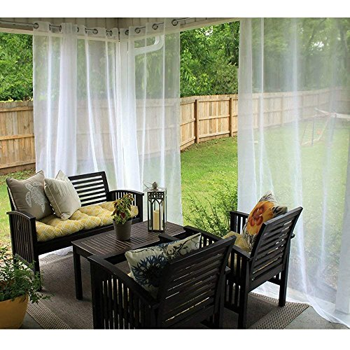 RYB HOME Outdoor Indoor Sheer Curtain Drape for Patio, Outdoor Gazebo Curtains Mildew Resistant Voile Privacy Curtains for Porch, 1 Piece with 1 Tieback Rope,54 inch Wide x 108 inch Long, White