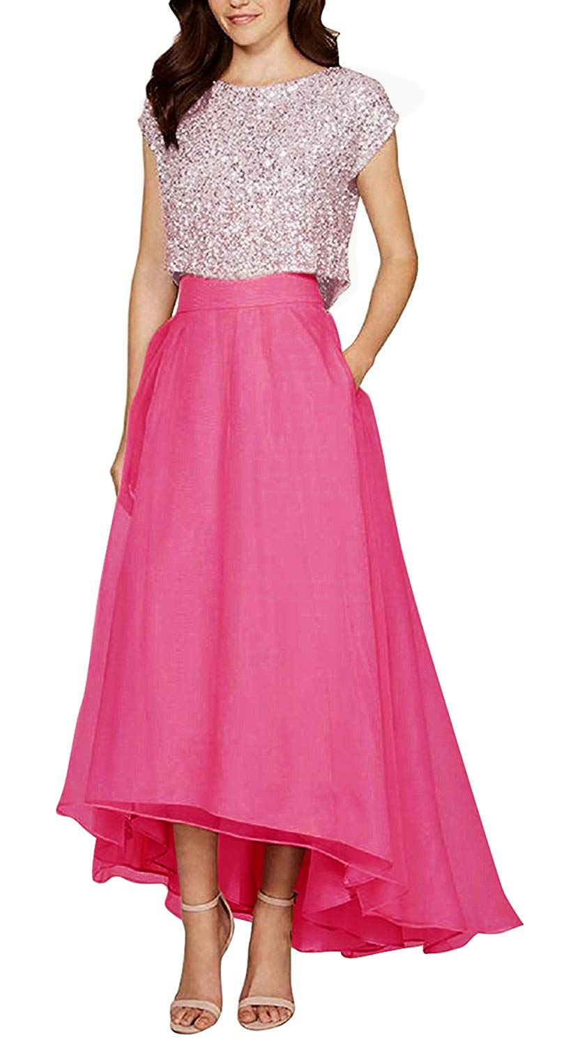 VICKYBEN Womens Two Pieces Hi-Lo Sequins Chiffon Homecoming Dress Prom Dress Bridesmaid Dress with