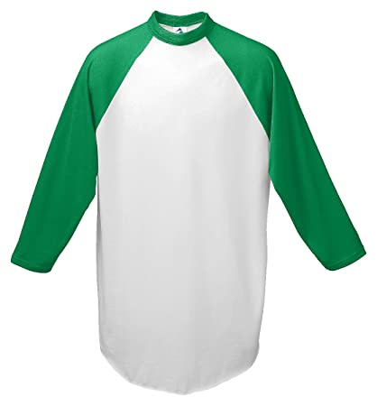 00d1253831c7 Amazon.com: Augusta-Baseball Jersey Raglan 3/4 sleeves~White/Kelly  Green~Youth-SM: Toys & Games