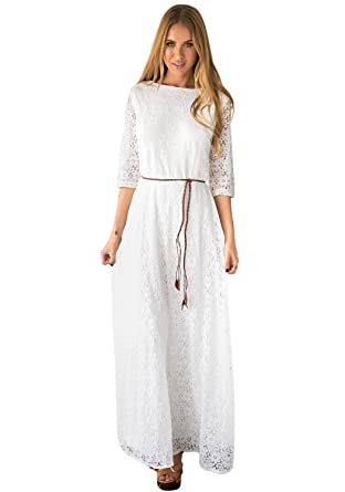 Lookbookstore Womens White 34 Sleeve Wedding Plus Size Lace Maxi