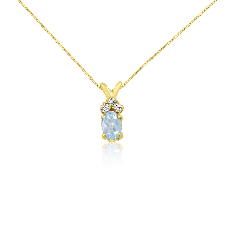 14k Yellow Oval Blue Topaz and Diamond Pendant