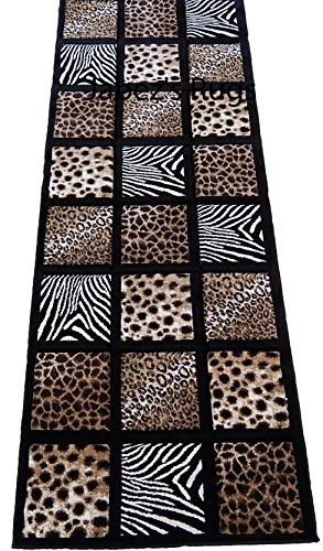 Skin Mix Runner Black 3x8 Area Rug Animal Print Zebra Cheetah Leopard Actual Size 2'7 x 7'4
