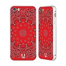 Head Case Designs Classic Red Classic Paisley Bandana Silver Aluminum Bumper Slider Case for Apple iPhone 5 / 5s / SE