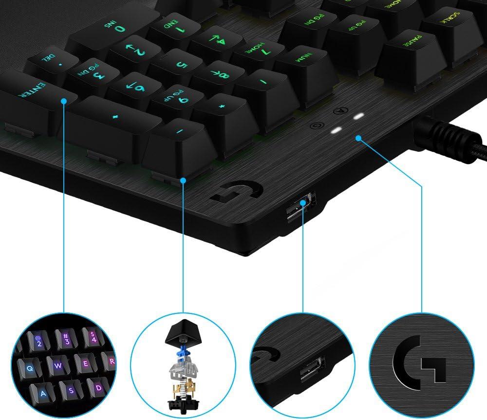 Logitech G513 Teclado Gaming Mecánico con Reposamanos, RGB Lightsync, Teclas Retroiluminadas, Interruptores GX Blue, Aleación de Aluminio 5052, ...