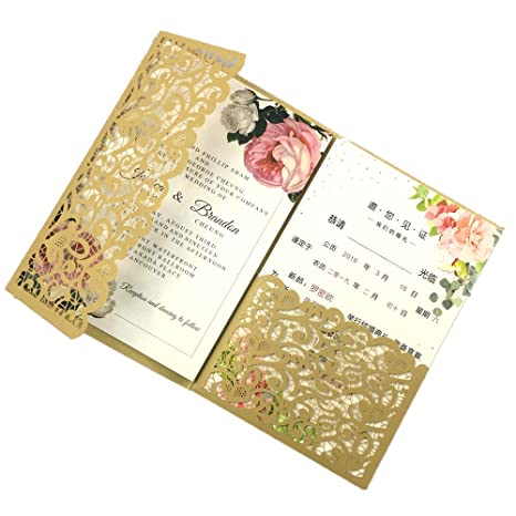 25 Sets 250g Dark Gold Vintage Tri Fold Wedding Invitations Cards With Envelopes Inserts Invites 5x7 For Wedding Bridal Shower Birthday