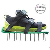 Alisan Lawn Aerator Spike Shoes - Come with 3 Adjustable Straps, Metal Buckles and Stainless Steel Spikes, Simple Soil Aerating Tool for Your Yard, Lawn