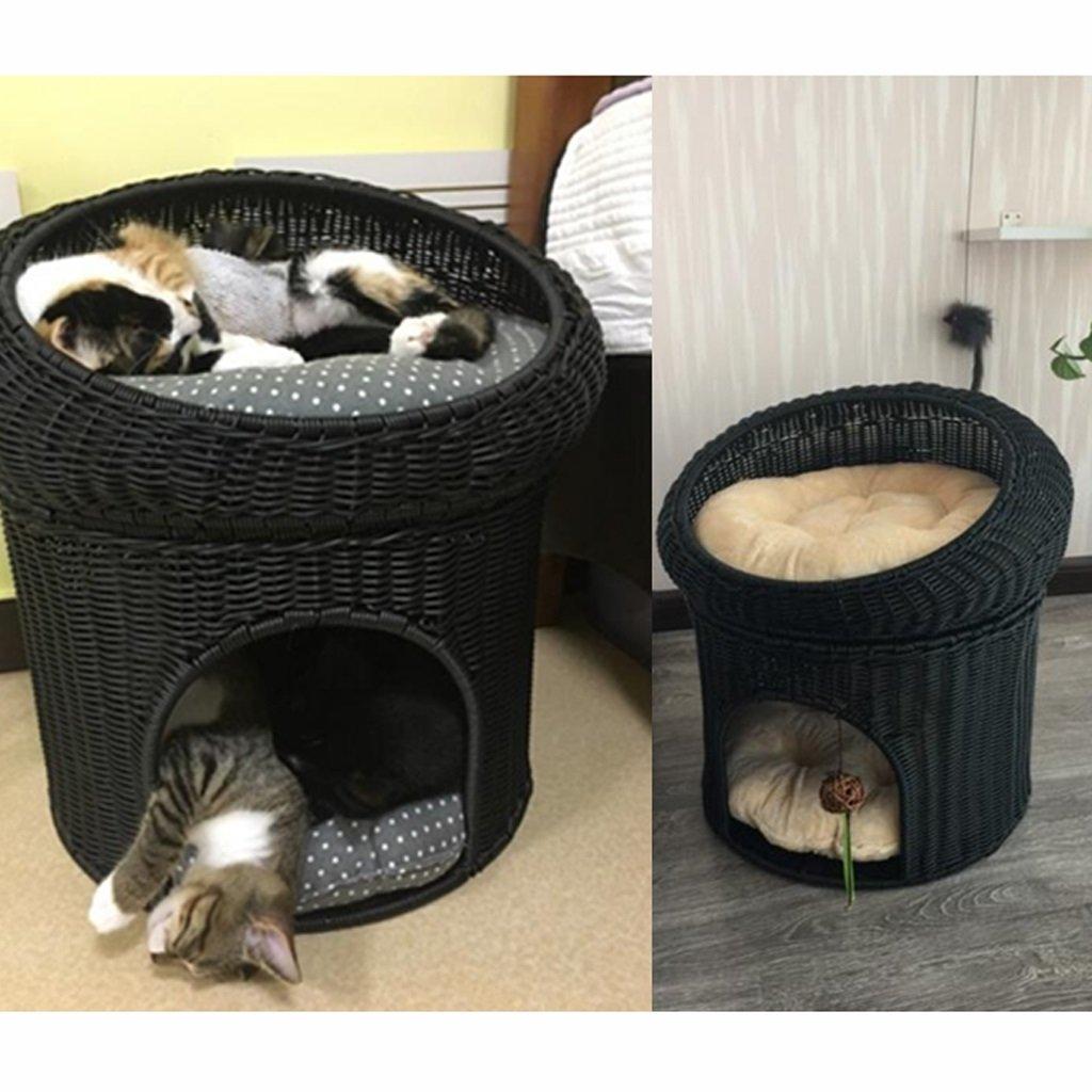 ZH Casa para Mascotas Cajita de ratán Jaula para Dos Gatos Nido de ...
