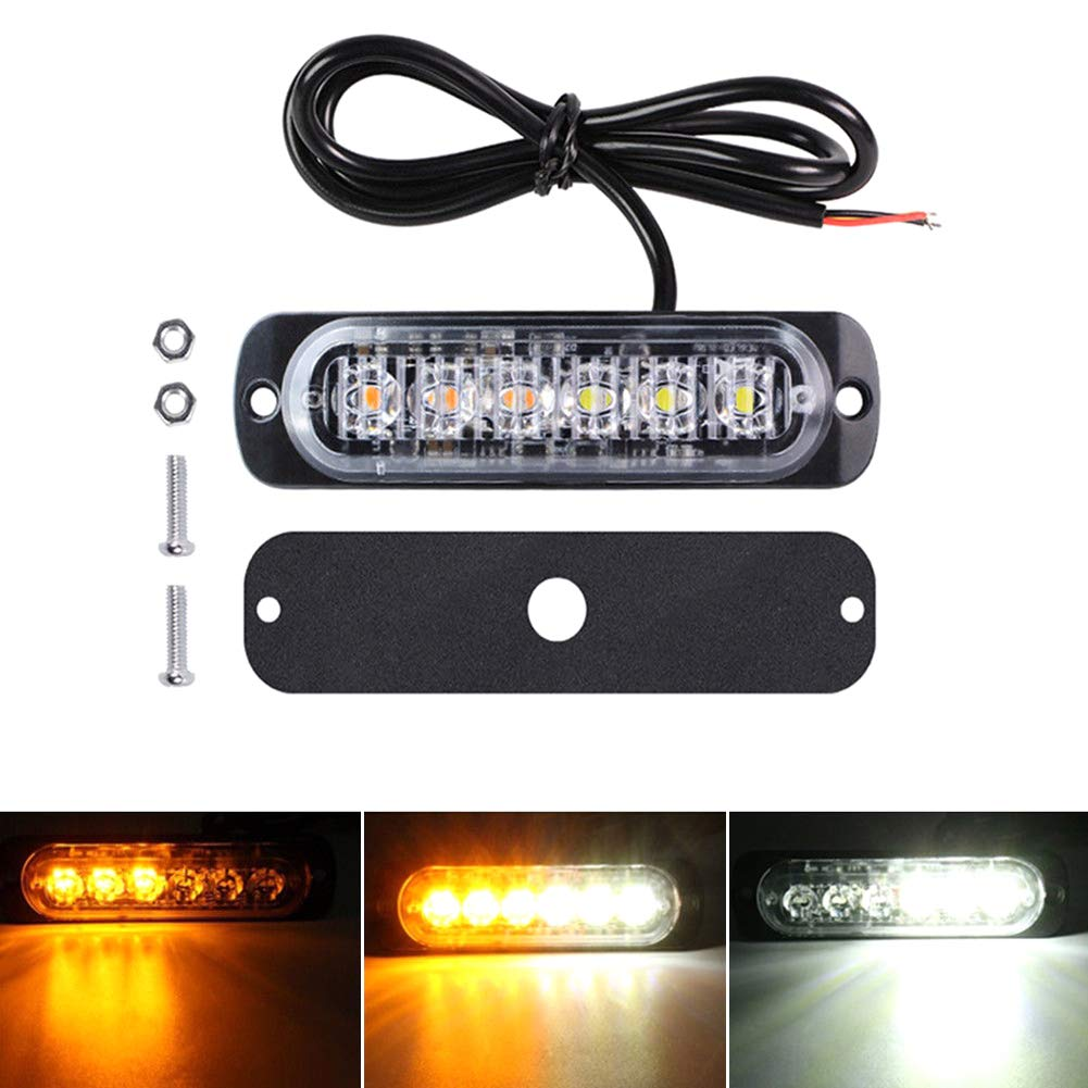DD-BOMG 12PCS lumi/ère stroboscopique 6 LED orange danger durgence clignotant camion de remorquage