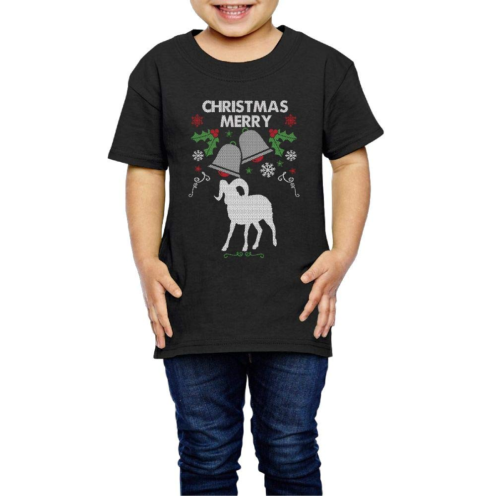 Merry Christmas Big Horn Sheep 2-6 Years Old Kids Short Sleeve Tshirts