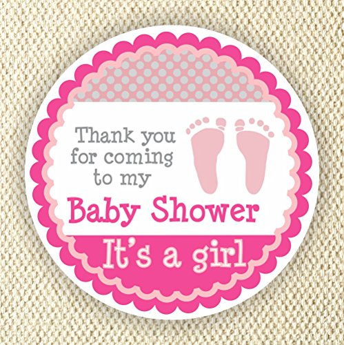 Baby Girl Shower Stickers - It's a Girl Stickers - Favor Stickers - Baby Shower Favor Stickers - Baby Footprint Stickers - Set of 40 stickers from Philly Art & Crafts