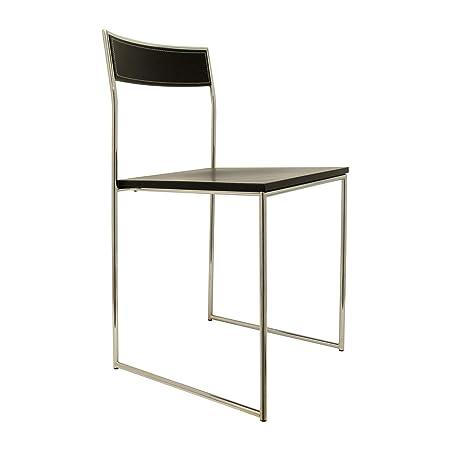 Sedie Metallo E Cuoio.Xilema Mobili Sedia Vela In Acciaio E Cuoio Nero Amazon It Casa