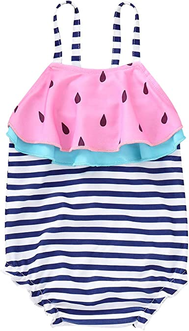 waliwali Newborn Baby Girl Swimsuit Watermelon Print Bikini Ruffles Sleeve Backless Swimwear One-Piece Bathing Suit