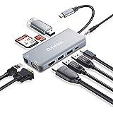 USB C ハブ Onshida 10in1 4K HDMI出力 VGAタイプC 変換 アダプタ LAN 1000Mbps PD充電 USB3.0ポート*3 SD/Micro SD カードリーダー 3.5mmヘッドフォンジャック USB Type C ハブUSB C ドッキングステーション MacBook/MacBook Pro/ChromeBookなど対応(アルミニウム グレー)