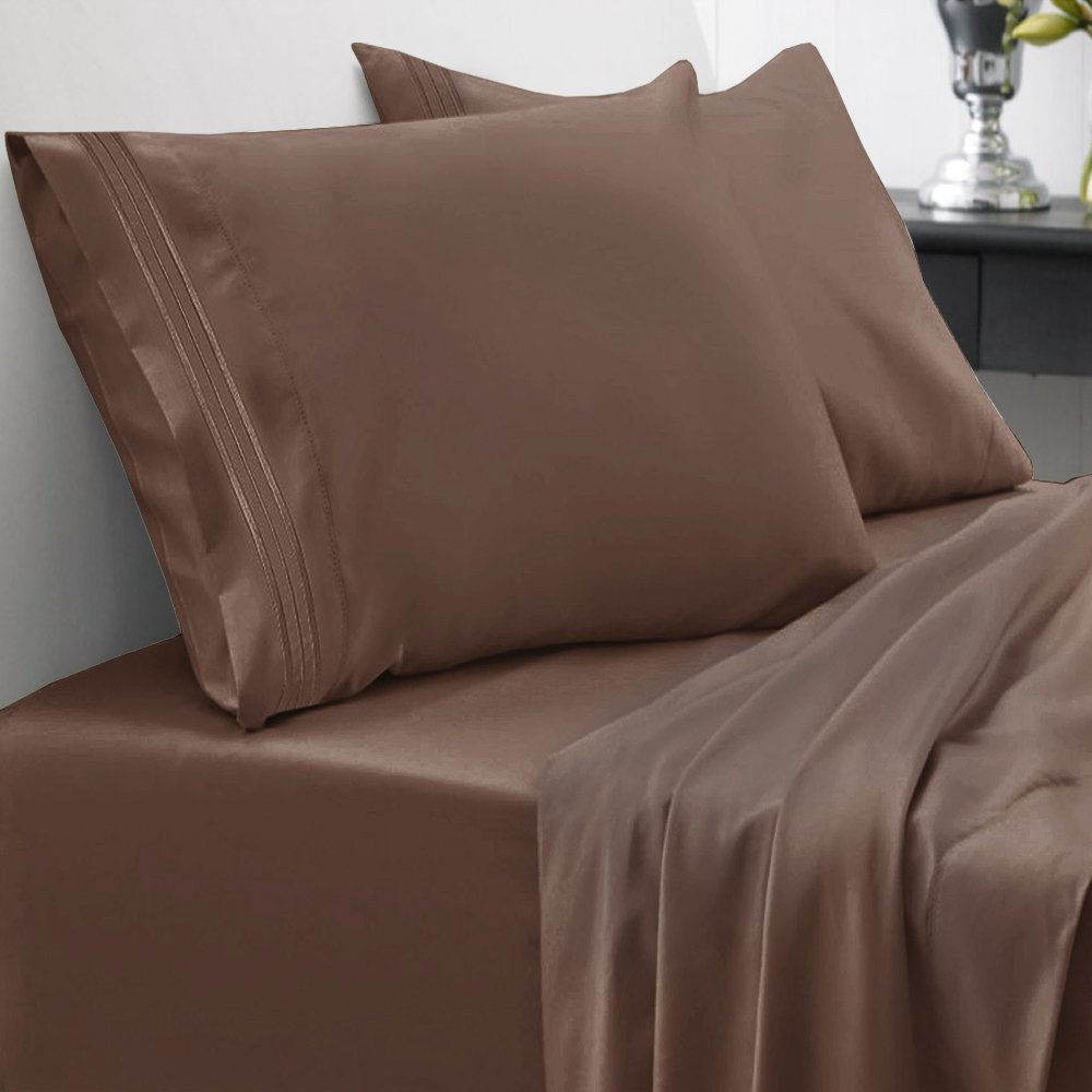 Sweet Home Collection 1800 Thread Count Bed Sheet Set Egyptian Quality Brushed Microfiber 5 Piece Deep Pocket, Split King, Brown