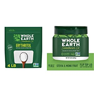 Whole Earth Sweetener Co. 100% Erythritol, 4 Pound Pouch, Natural Sugar Alternative, Baking Substitute & Stevia Leaf and Monk Fruit Sweetener, Erythritol Sweetener, Sugar Substitute, 9.8 Ounce Jar
