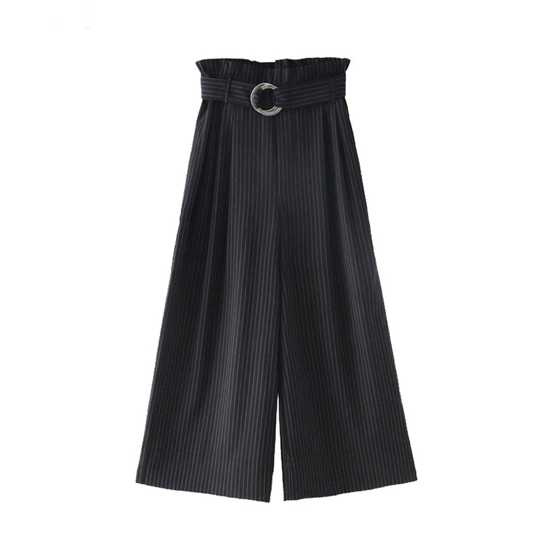 Henraly Women Belt Fine Striped Broad Leg Pants Women's Casual Seven-Point Trousers Long Culottes Pants Spet12