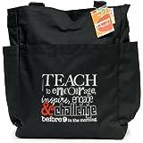 Teacher Peach Positive Teacher Tote Bag - Motivational Work Bag with Pockets, Organizers, Zippers, and Water Bottle Holder - Best for Teacher Appreciation or New School Teacher Gift for Women