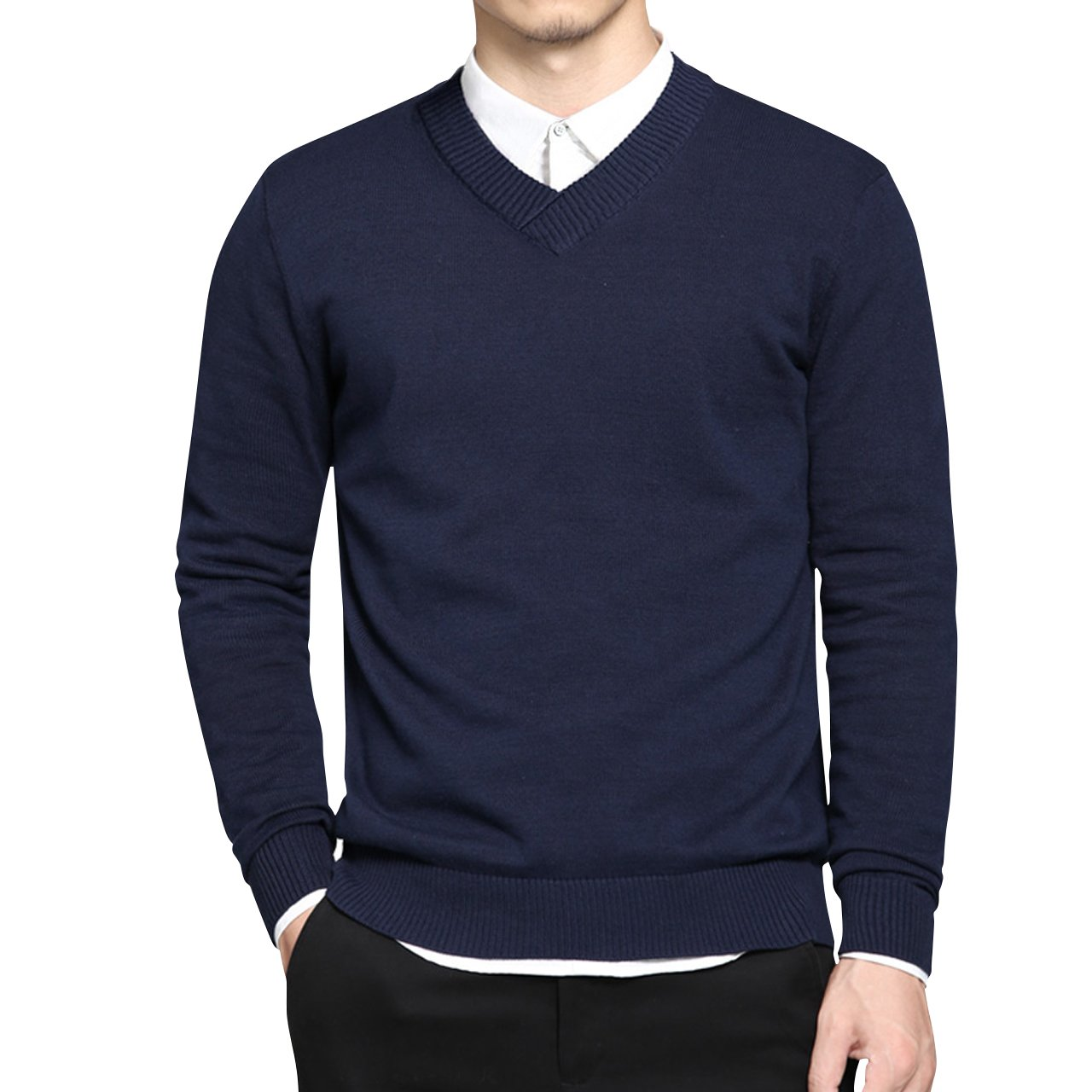 LTIFONE Mens Slim Comfortably Knitted Long Sleeve V-Neck Sweaters (Small, Blue)