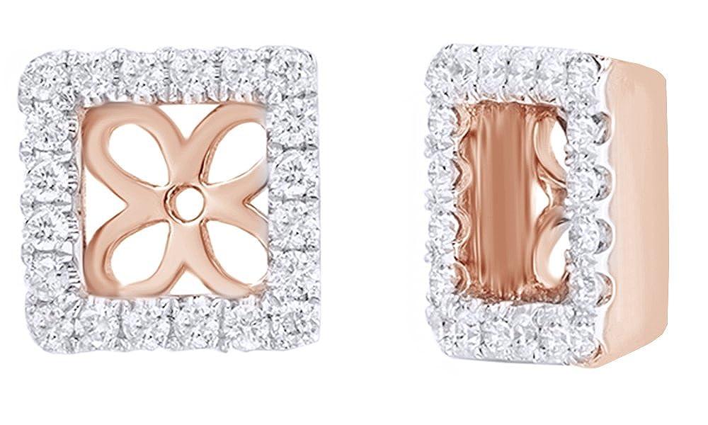 Weißszlig; natürlicher Diamant Rahmen quadratisch Ohrring Jacken In 14 ct 585 Weißszlig; Gold massiv (0,37 Karat) 14 Karat RotGold
