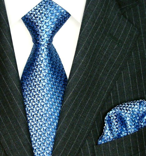 LORENZO CANA Luxury Italian 100/% Silk Tie Hanky Set Multi Blue Woven Handmade 8407601