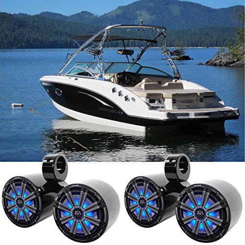 "Pair Dual KICKER 45KM84L 8"" 1200w Marine Boat LED Wakeboard Tower Speakers KM8"