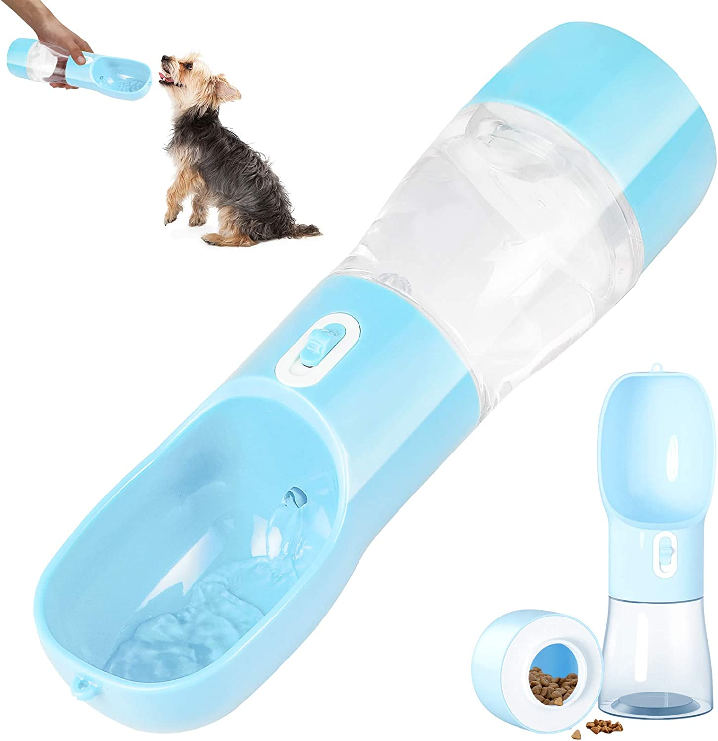 iiDesign Dog Water Bottle for Walking, Portable Dog Water Bottles with Drinking and Feeding Function, Dog Travel Water Bottle, Pet Water Bottle for Outdoor Hiking Walking Travel