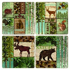 CoasterStone AS2470 Absorbent Coasters, 4-1/4-Inch, Bear Deer Moose Lodge Collection, Set of 4