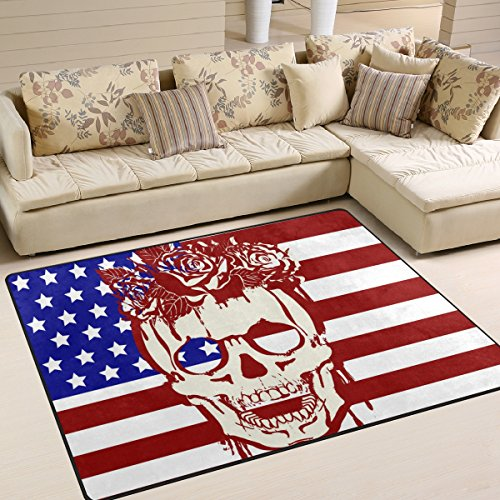 La Random USA Flag With Skull And Roses Area Rug Decorative