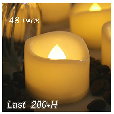 48 Pack Battery Operated Flameless LED Votive Tealight Candles Long Lasting Realistic Flickering Electric Fake Tea Lights Set Bulk Baptism Party Wedding Decorations Centerpieces Decor Batteries Incl.: Home Improvement