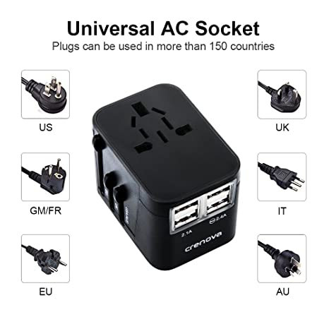 Amazon com: Crenova Travel Adapter with 4 USB Ports 100V