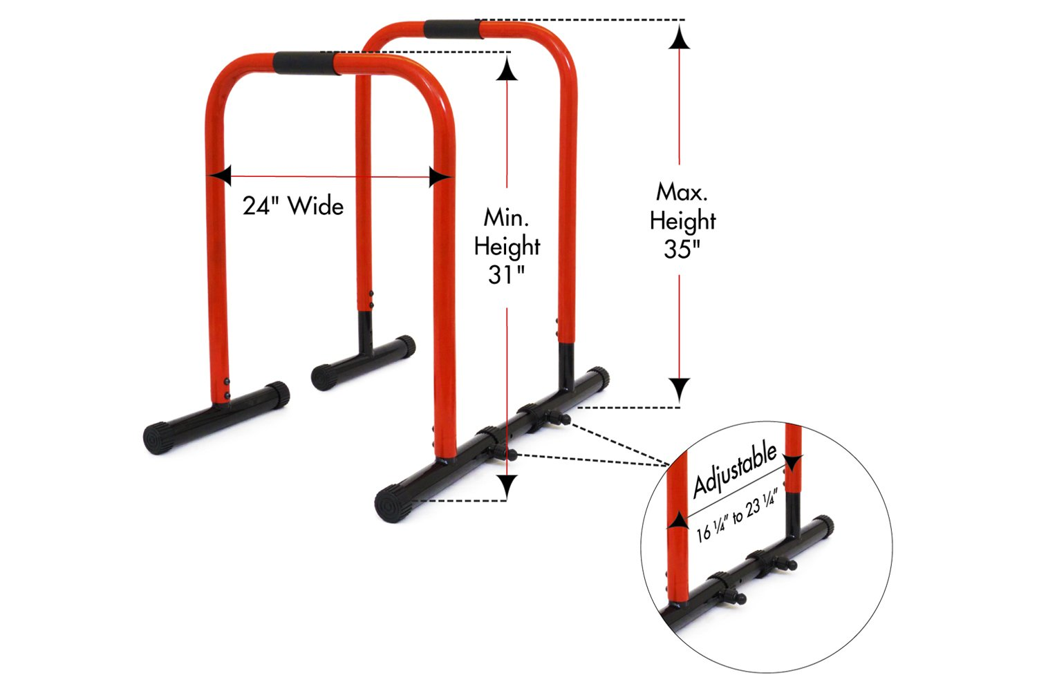 ProsourceFit Dip Stand Station, Heavy Duty Ultimate Body Press Bar with Safety Connector for Tricep Dips, Pull-Ups, Push-Ups, L-Sits, Red by ProsourceFit (Image #2)