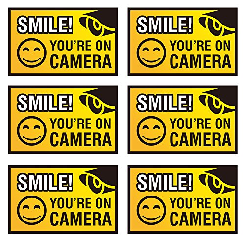 Smile You're On Camera Sign - 6 Pack - 4 x 2.5 inches - Weatherproof & Water-resistant - Security Warning Stickers - Camera Warning Sticker