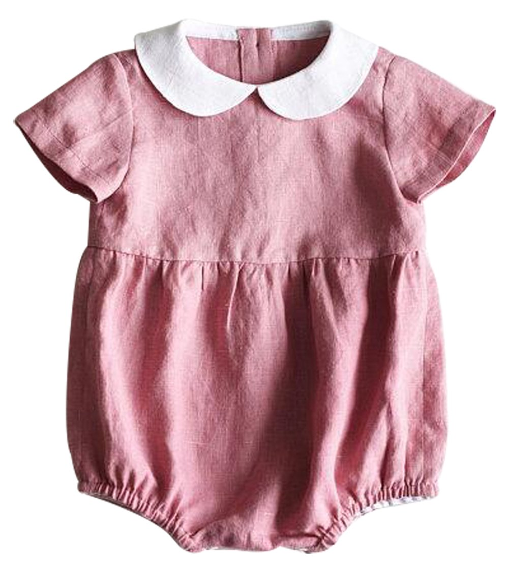 LOTUCY Toddler Girls Summer Short Sleeve Turn Down Collar Romper One Piece Jumpsuit Size 6-12 Months/Tag80 (Pink)