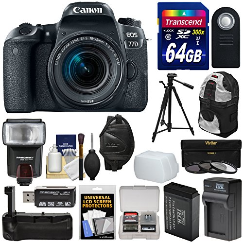 Canon EOS 77D Wi-Fi Digital SLR Camera & EF-S 18-55mm IS STM Lens with 64GB Card + Battery & Charger + Grip + Backpack + Filters + Tripod + Flash Kit by Canon