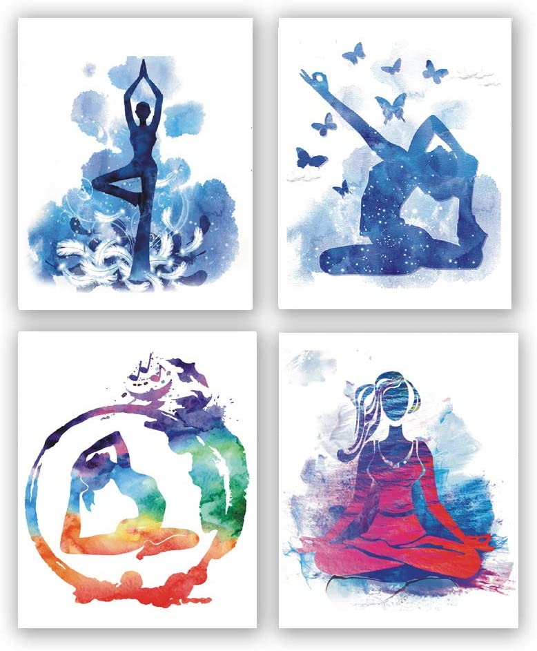 "4 set- Dancing girl modern abstract art painting, elegant dancer mural, dance wall decoration paintings(Unframed, 8""X10"")"