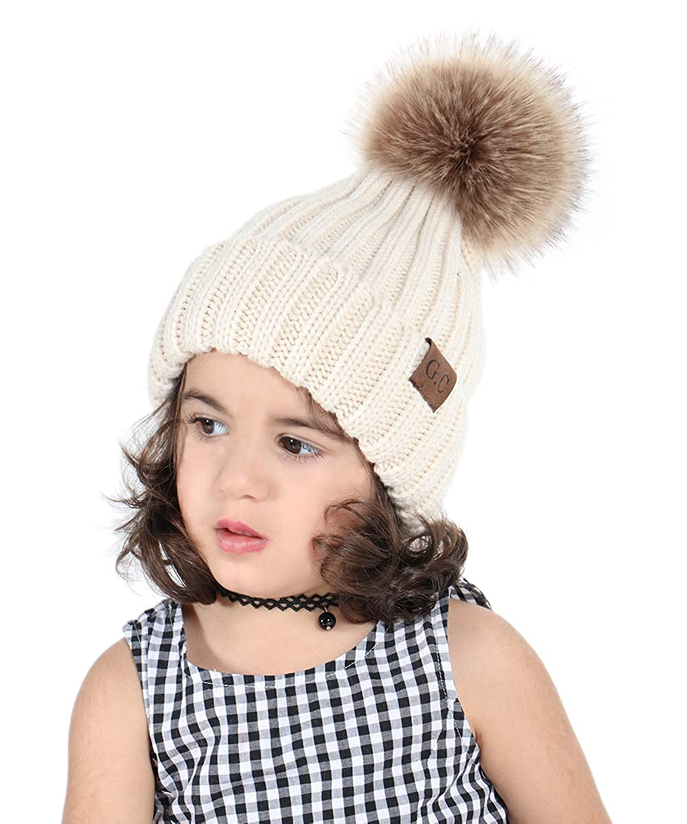 G.C Kids Winter Hat Pom Pom Beanie Children s Soft Warm Knitted Hats for Baby  Toddlers Boys Girls Knit Pom Hat 1e3ae52bbee3