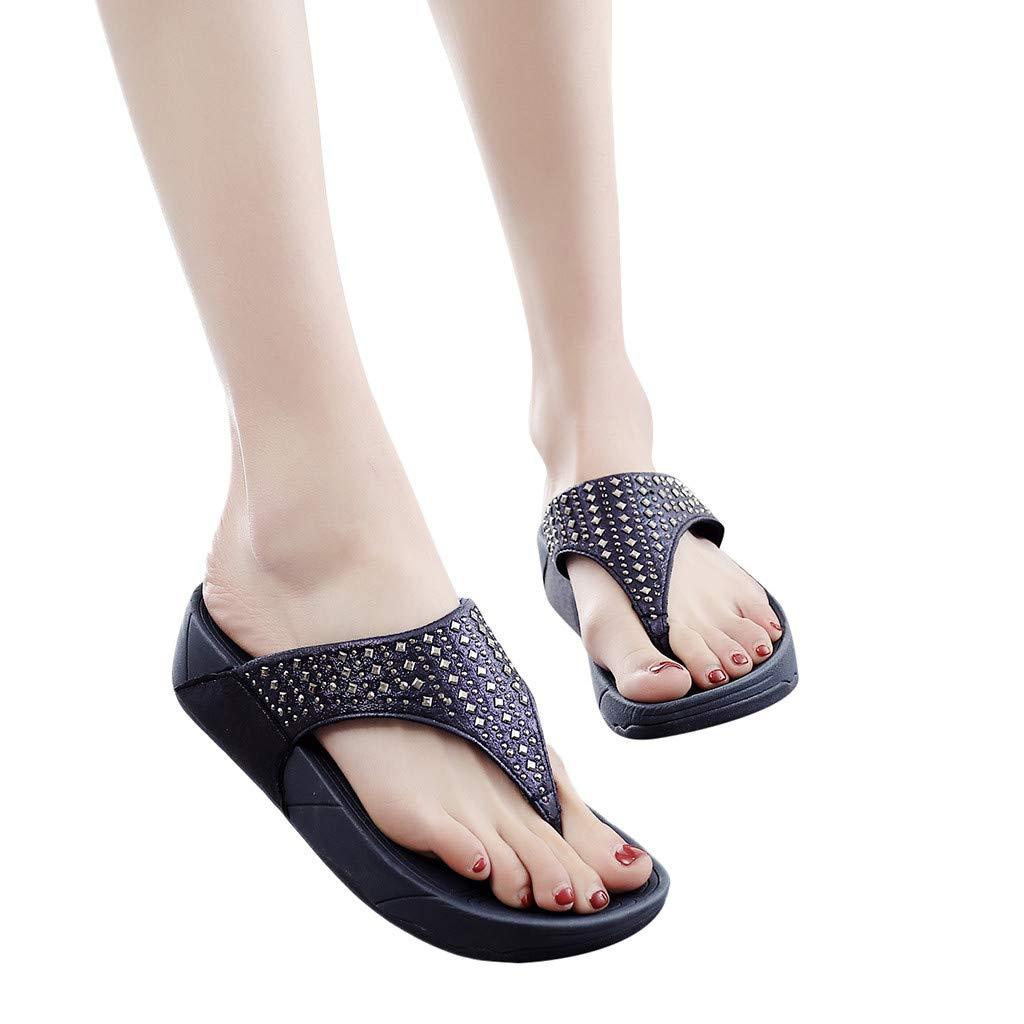Veodhekai Women Flip-Flops Thick Bottom Sandals Anti-Slip Flats Shoes Beach Post Slippers Sparkly Platform Sandals Blue
