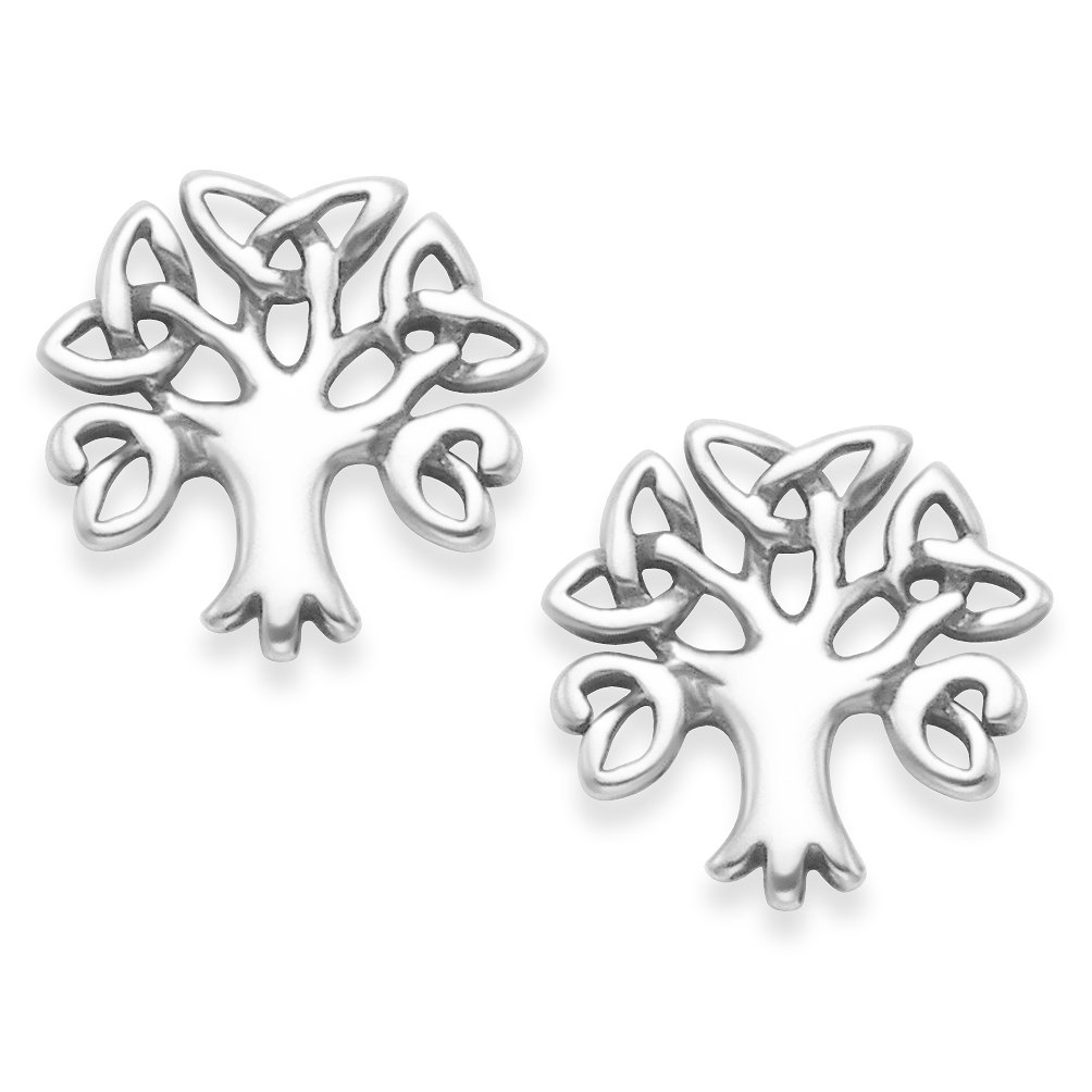 Sterling Silver Celtic Tree of Life Earrings - SIZE: 10mm x 10mm. Tree of Life Stud Earrings. Gift boxed. 5399 a9eiMzP